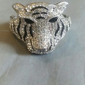 Blinged out black and silver bracelet of a lion